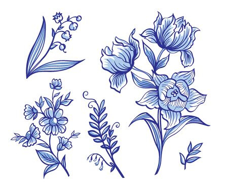 Set of decorative abstract spring flowers in blue tones, cobalt: Lilies of the valley, tulips, primrose, mouse pea. Illusztráció
