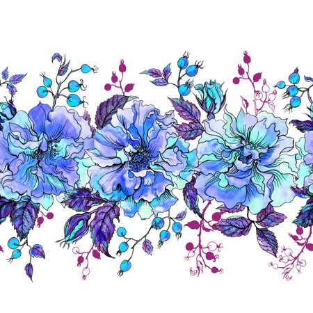 Seamless border in blue tones of climbing roses and sprigs, hand-drawing.