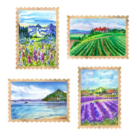 Stamps from travels: mountains, sea, beach, vineyard, lavender fields, watercolor illustration on a white background.