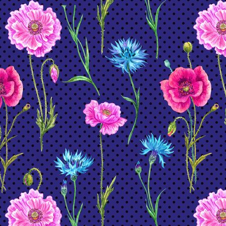 Seamless pattern of poppies and cornflowers on a dark blue polka dot background 版權商用圖片