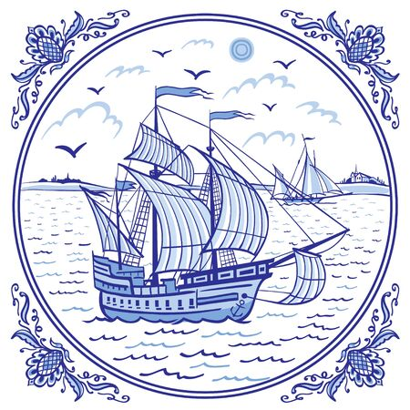 Sailing ship at sea, seascape in a patterned frame, illustration in folk style, Eastern or European painting for dishes, ceramics, etc. in blue tones.