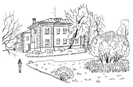 Old house, lilac bushes and flowerbed, black and white contour landscape, vector illustration.