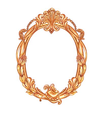 Gold oval frame with Baroque pattern, watercolor painting on white background, isolated.
