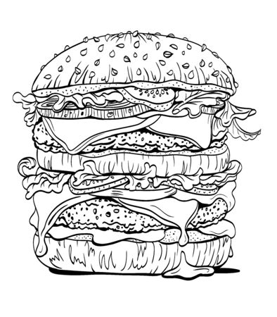 Double burger, contour linear drawing, graphic sketch, coloring book for adults and children, image for menu, poster and other designs.