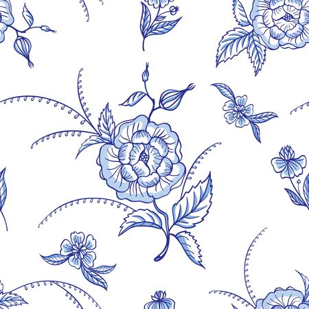 Seamless pattern of abstract decorative flowers, cobalt painted ceramics, floral print for fabric background for different designs. Foto de archivo - 148945713