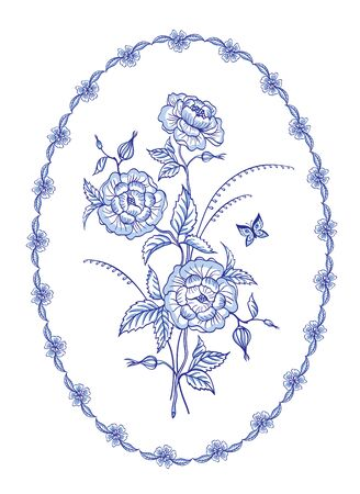 Decorative bouquet, floral arrangement in an oval patterned frame in blue tones in a folk style, traditional oriental or European painting, Dutch style.