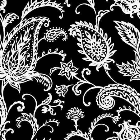 Paisley seamless pattern on black background, oriental pattern, black and white vector illustration Vettoriali