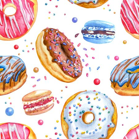 Donuts and macaroon seamless pattern on a white background. Print with sweets for fabric, wrapping paper, background for various designs.