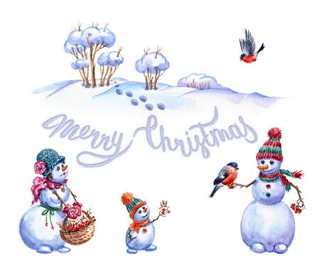 Family of snowmen feeding bullfinches, watercolor painting on white background. Christmas card with snowmen.