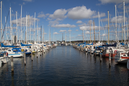 Aalborg, Denmark - September 21, 2014: Photo of the sailing boat harbour. Editorial