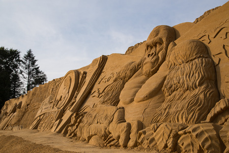 king kong: Blokhus, Denmark - September 20, 2014: A big King Kong sand sculpture at the international sand sculpture festival. Editorial
