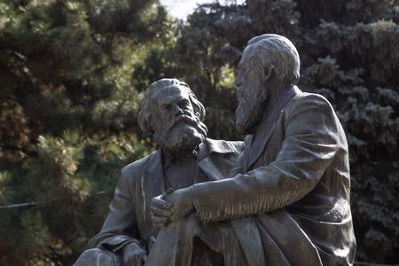Bishkek, Kyrgyzstan - October 3, 2014: Photo of the Karl Marx  Friedrich Engels monument.