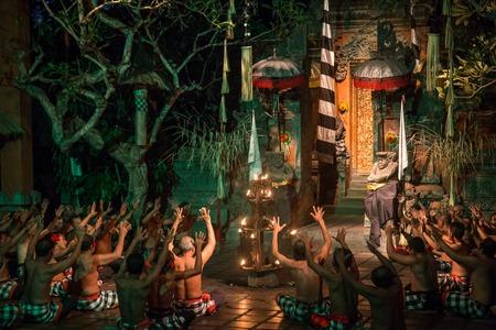 Batu Bulan, Bali, Indonesia - July 19, 2015: Performance of a traditional Kecak dance.