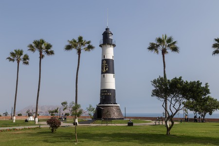 miraflores district: Lima, Peru - 29 August, 2015: Photograph of the lighthouse Faro de Marina in the district Miraflores.