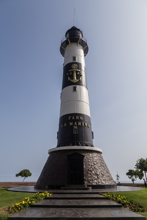 Lima, Peru - 29 August, 2015: Photograph of the lighthouse Faro de Marina in the district Miraflores.