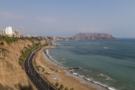 miraflores district: Photograph of the coastline of Miraflores, a district of Perus capital Lima. Editorial