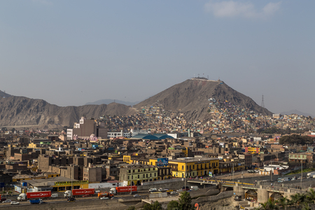 cristobal: Lima, Peru - September 5, 2015: Photograph of the hill San Cristobal at the northern side of the river Rimac.