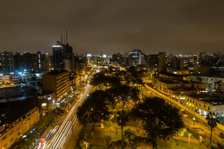 lima: Miraflores, Lima, Peru - September 06, 2015: Photograph of the Kennedy park on a Sunday night. Editorial
