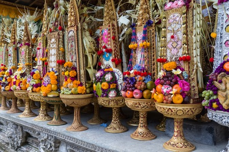 offerings: Colorful offerings at a temple ceremony in Bali.