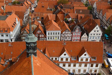fachwerk: Celle, Germany - April 19, 2014: Photograph of the rooftops of Celle taken from the top of the city church. Editorial