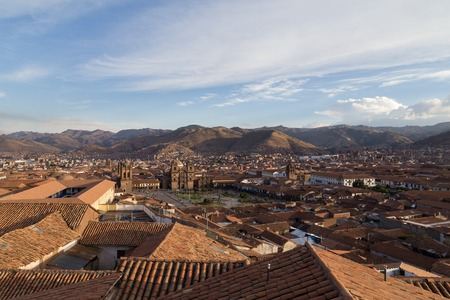 plaza of arms: Cusco, Peru - October 07, 2015: Panoramic view of Plaza de Armas in Cusco Editorial