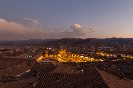 plaza de armas: Cusco, Peru - October 08, 2015: Panoramic view of Plaza de Armas in Cusco by sunset