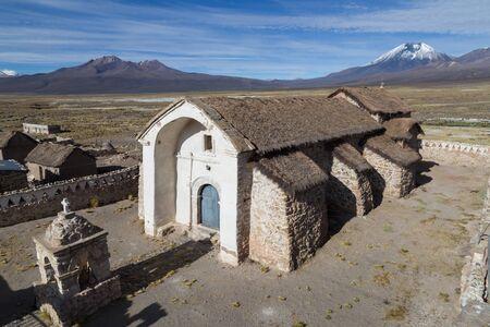 nevado: Photograph of the small church in Sajama in the Sajama National Park in Bolivia.
