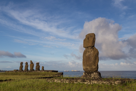 easter island: Photograph of the moais at Ahu Tahai on Easter Island in Chile in morning light.