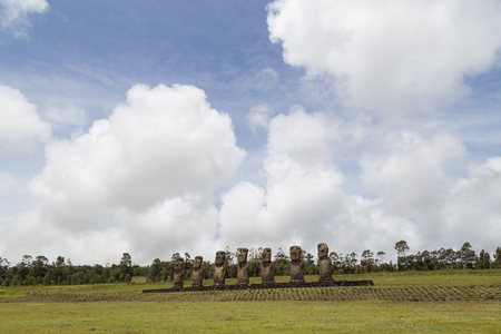 easter island: Photograph of the moais at Ahu Akivi on Easter Island in Chile.
