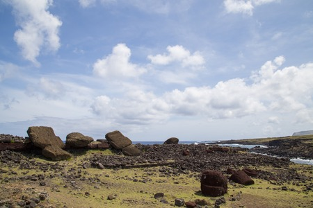 toppled: Photograph of the toppled over moais at Akahanga site on Easter Island in Chile. Stock Photo