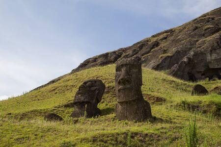 rano raraku: Photograph of the moais at Rano Raraku stone quarry on Easter Island in Chile.