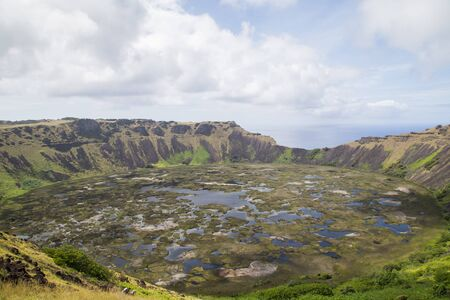 nui: Photograph of the crater of volcano Rano Kau on Rapa Nui, Easter Island, Chile.