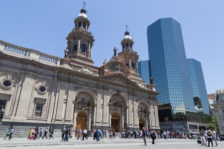 historical reflections: Santiago de Chile, Chile - November 26, 2015: Photograph of the cathedral at the main square in Santiago de Chile. Editorial