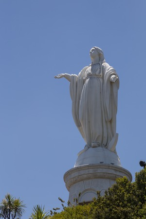 Photograph of the Virgin Mary statue on Cerro San Cristobal in Santiago de Chile. Stock Photo