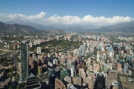 santiago: Panoramic city view from the Gran Torre Santiago in Santiago de Chile.