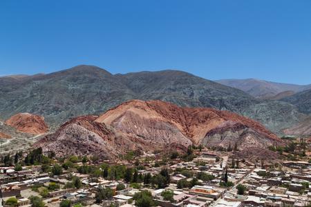 siete: Photograph of the multicolored mountain called - cerro de los siete colores - in Purmamarca, Argentina.