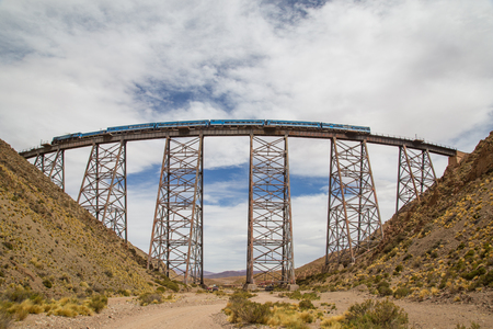 Photograph of a train driving over the Polvorilla viaduct in the Northwest of Argentina.