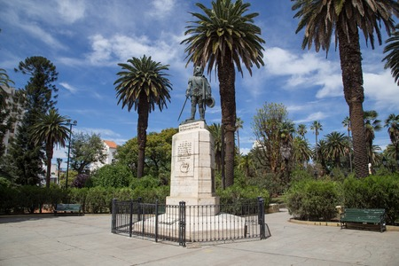 the founder: Salta, Argentina - November 12, 2015: Photograph of the statue representing the founder of town Hernando de Lerma.