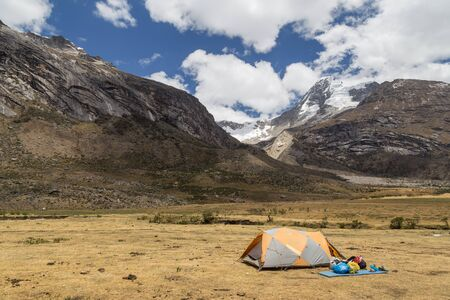 santa cruz: Photograph of a tent on the Santa Cruz Trek in Peru. Stock Photo