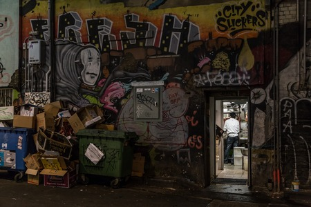 backdoor: Melbourne, Australia - April 22, 2015: View through a kitchen backdoor in the alleyways of Melbourne. A cook is preparing a dish.