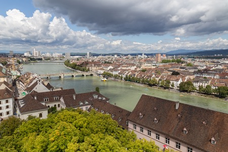 View of Basel city from one of the towers of the cathedral.