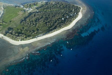pristine coral reef: Aerial view of Lady Elliot Island in Queensland, Australia. Stock Photo