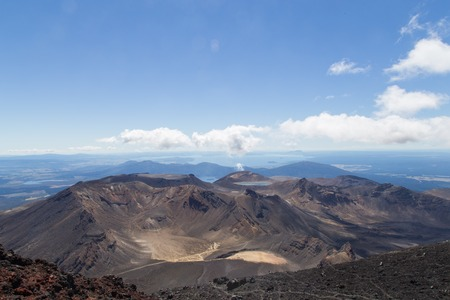 te: View over Central Crater, South Crater, volcano Te Maari from the top of Mount Ngauruhoe. Stock Photo