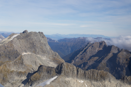 aspiring: Aerial view of the mountains of Mount Aspiring National Park on the South Island in New Zealand. Stock Photo