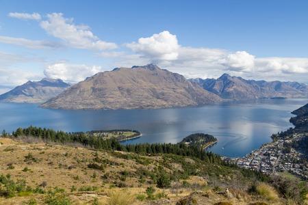 wakatipu: View of the mountains and Lake Wakatipu from Queenstown Hill, New Zealand. Stock Photo