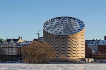 Copenhagen, Denmark - January 21, 2016:  Frozen lake in front of the Tycho Brahe Planetarium.