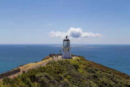 reinga: Photograhp of the lighthouse at Cape Reinga on the North Island in New Zealand. Stock Photo