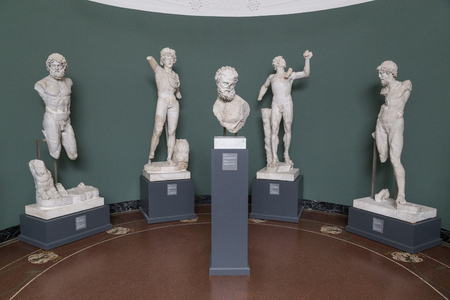 carlsberg: Copenhagen, Denmark - February 16, 2016: Roman and Greek Sculptures in the New Carlsberg Glyptotek. Editorial