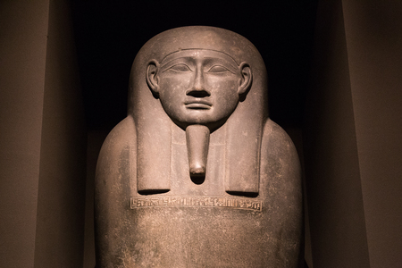 carlsberg: Copenhagen, Denmark - February 16, 2016: Pharaoh statue in the New Carlsberg Glyptotek. Editorial