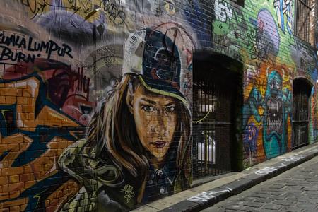 urban culture: Melbourne, Australia - April 21, 2015: A graffiti in the alleyways of Melbourne.